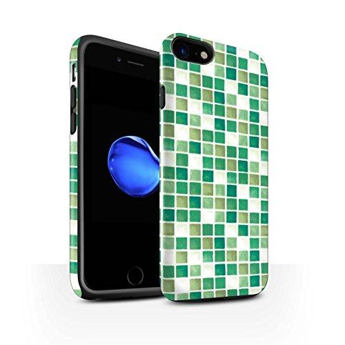STUFF4 Matte Harten Stoßfest Hülle / Case für Apple iPhone 8 / Grün/Weiß Muster / Bad Fliesen Kollektion Grün/Weiß