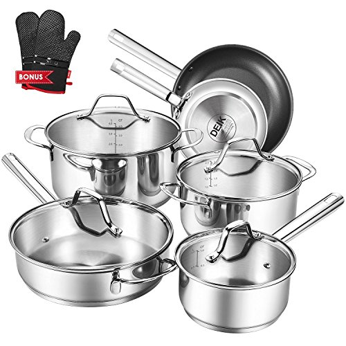DEIK Cookware Set, Kitchenware Set, MultiClad Pro Stainless Steel 10-Piece Pots and Pans Set, Rustproof and Oven-Safe Cooking Pots,  Riveted Handles with a Bonus of Oven Mitts