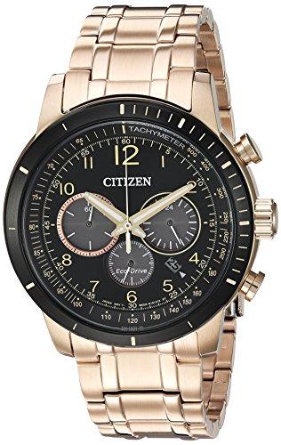 citizen-pour-homme-chronographe-quartz-en-acier-inoxydable-montre-de-style-dcontract-couleur-rose-go