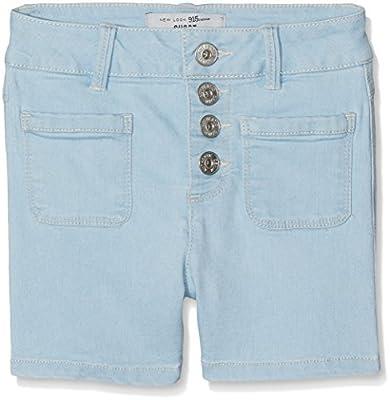 New Look 915 Girl's Highwaisted Bleach Denim Shorts