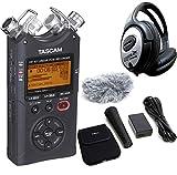 Tascam DR-40 V2 4-Spur Audio-Recorder + AK-DR11GMK2 Zubehör Set + KEEPDRUM Kopfhörer