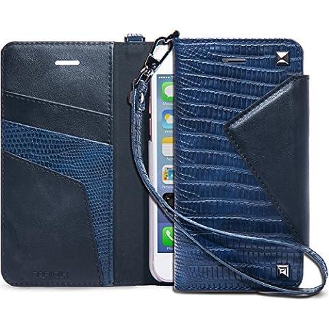iPhone 7 Funda, TORU [Cherie] Funda cartera para iPhone 7 [Piel de cocodrilo][Almacenamiento de tarjetas y carnés][Soporte][Correa] para iPhone 7 - Azul Marino