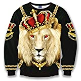 Pizoff Unisex Hip Hop Digital Print Sweatshirts mit Löwen Krone 3D Muster Y1627-10-2XL