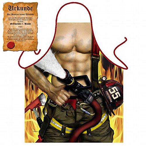 Sexy Grillschürze ! Top Scherzartikel zum Geburtstag, für Partys, Karneval,…: Feuerwehrmann !! GRATIS Urkunde dabei (Sexy Feuerwehrmann Frau Kostüme)