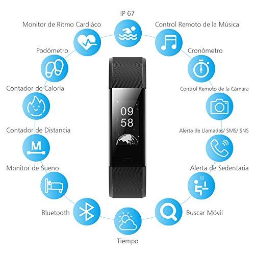 Pulsera de Actividad Pulsómetro Impermeable IP67 GRAN'T Pulsera Inteligente con Monitor de Ritmo Cardíaco Monitor de Actividad Podómetro Monitor de Calorías y Sueño Fitness Tracker Pulsera Bluetooth Móvil Compatible con IOS y Android con APP en Españo