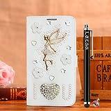 Locaa(TM) For Nokia Lumia 1020 Nokia1020 Lumia1020 3D Bling Case Funda 3 IN 1 Accesorios Funda Bumper Shell Caso Alta Calidad Piel Cuero Para Protector Dura Cover Cas [1] Blanca - Amar ángel
