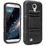 vau Defender schwarz - Heavy-Duty Silikon-Schutzhülle mit Gürtelclip für Samsung Galaxy S4