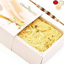 Ghasitaram Gifts Rakhi Gifts for Brother - Rakhi Sweets- Rakhi Gifts Sweets- Soan Papdi (200 GMS) with Pearl Rudraksh Rakhi