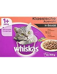 Whiskas 1+ Katzenfutter Fleischauswahl in Sauce, 12 Beutel (12 x 100g)