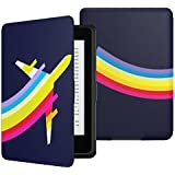 MoKo Case for Kindle Paperwhite, Premium Thinnest and Lightest Leather Cover with Auto Wake / Sleep for Amazon All-New Kindle Paperwhite (Fits All 2012, 2013 and 2015 Versions), Fly Rainbow