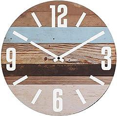 Idea Regalo - NIKKY HOME Orologio da Parete Rotondo in Legno a Strisce 30 cm per Arredo Casa al Mare