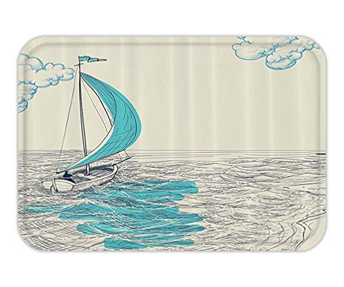 Icndpshorts Doormat Nautical Decor Sailing Boat Reflection Cloudy Sky Sandy Seaside Shoreline and Hobby WatersportImage Fabric Bathroom Decor Set with Hook Long Aqua and Navy.jpg -