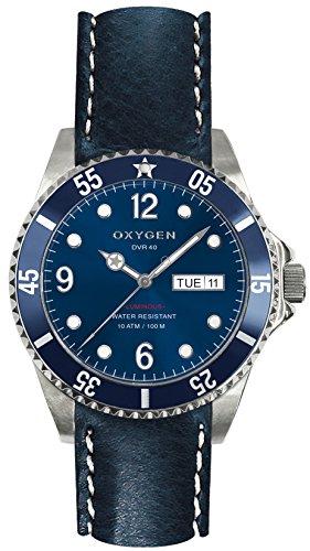 OXYGEN - EX-D-ATL-40-CL-NA - Montre Mixte - Quartz - Analogique - aiguilles luminescentes - Bracelet Cuir Bleu