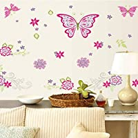 TCCSR Wall Stickers Colorful Butterfly Flower Diy Poster For Nursery Bedroom Decor Vinyl Wall Stickers Decor