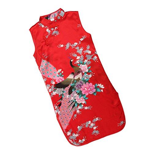 Sharplace Kinder Mädchen Qipao Cheongsam Geisha Kostüm Partykleider Asia Kinder Qipao Cosplay Kinder - Rot, 10 (Geisha Kleid Rot Kostüm)