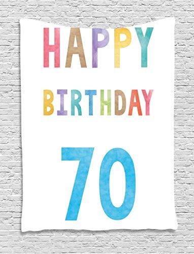 (ABAKUHAUS Bunt Wandteppich, Zusammenfassung 70 Geburtstag, Wohnzimmer Schlafzimmer Heim Seidiges Satin Wandteppich, 150 x 200 cm, Mehrfarbig)