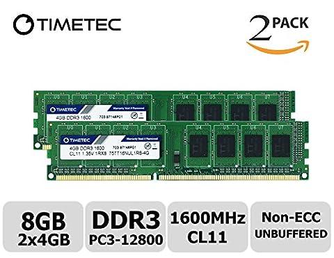 Timetec Hynix IC 8GB Kit (2x4GB) DDR3 1600MHz PC3-12800 Unbuffered Non-ECC 1.35V/1.5V CL11 1Rx8 Single Rank 240 Pin UDIMM Desktop Memory Ram Module Upgrade (8GB Kit (2x4GB))