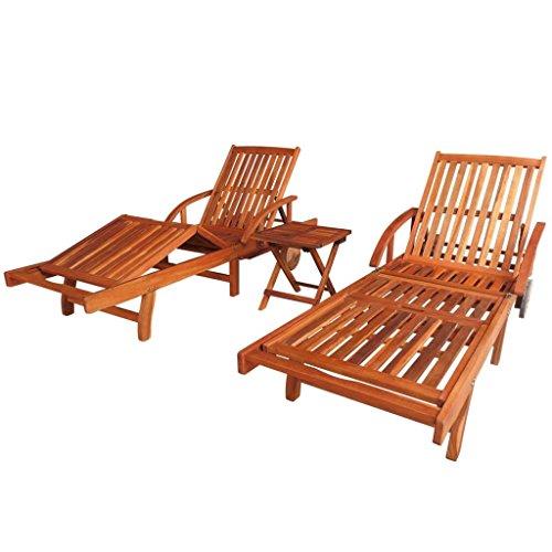 vidaXL 3-TLG. Massivholz Sonnenliege Tisch Set Gartenliege Strandliege Akazie