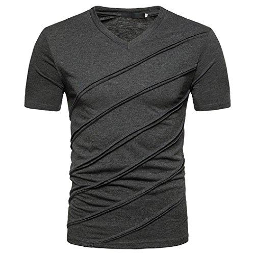 SUCES Herren T-Shirt V-Ausschnitt Slimfit Stretch Dehnbare Passform Einfarbiges Basic Shirt Herren Sportshirt Funktionsshirt Kurzarm für Sport Feuchtigkeitsabführend (S(Asian S=EU XS), Dark Gray) (Wander-lauf-t-shirt)