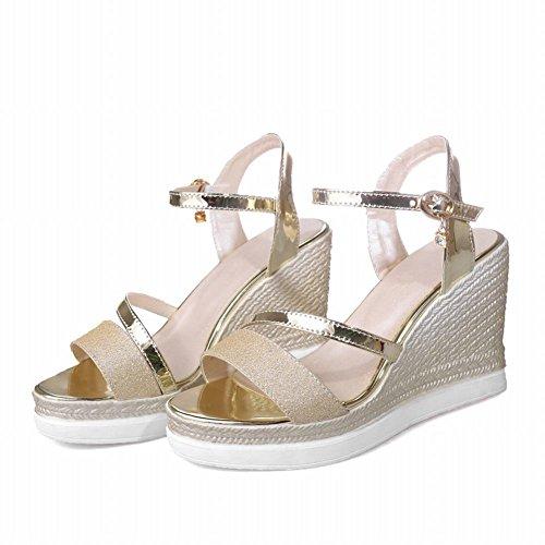 Mee Shoes Damen süß Keilabsatz open toe Schnalle Sandalen Gold