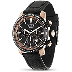 Sector Men's Quartz Watch with Black Dial Chronograph Display and Black Leather Strap R3271975001