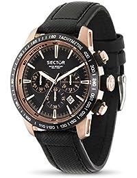Sector Herren-Armbanduhr XL 850 Analog Quarz Leder R3271975001