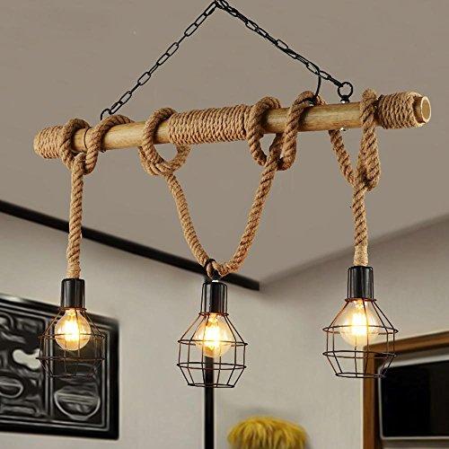 Preisvergleich Produktbild XYDM lampadari Stile degli Stati Uniti Personalità Corda di canapa Arte del ferro Plafoniera Ristorante Famiglia Bar Lampada a sospensione Decorazione