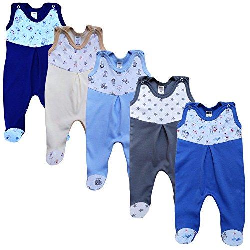 MEA BABY Unisex Strampler mit Aufdruck, Baumwolle, 5er Pack. Baby Strampler Mädchen Baby Strampler Junge (56, Jungen)