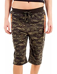Damen Camouflage Cargo Shorts Capri Pants 3 4 Army Style - Camouflage-Print, fafc7476d0
