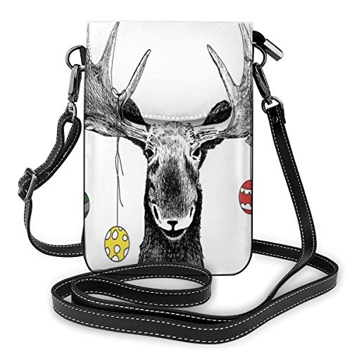 Jiger Women Small Cell Phone Purse Crossbody,Christmas Moose With Xmas Ornaments Balls Hanging From Horns Funny Noel Sketch Art -