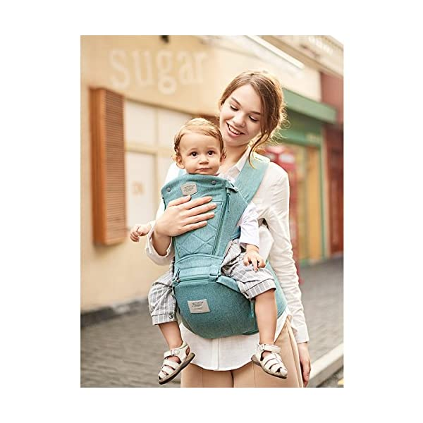 SONARIN 3 in 1 Breathable Hipseat Baby Carrier,Front Opening Design,Sun Protection,Multifunction,Adapted to Your Child's Growing, 100% Guarantee and Free DELIVERY,Ideal Gift(Green) SONARIN Applicable age and Weight:0-36 months of baby, the maximum load: 25KG, and adjustable the waist size can be up to 47.2 inches (about 120 cm). Material:designers carefully selected soft and delicate Cationic twill cloth. Resistant to wash, do not fade, ensure the comfort and wear resistance, Inner pad: EPP Foam,high strength,safe and no deformation,to the baby comfortable and safe experience. Description:patented design of the auxiliary spine micro-C structure and leg opening design, natural M-type sitting.Widened shoulder strap, Widened seat surface, thickened cushion, let the baby and mother enjoy the joy. H-type bridge belt, effectively fixed shoulder strap position, to prevent shoulder straps fall, large buckle, intimate design, make your baby more secure. 4