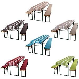 ESTEXO® Home & Garden 3-teiliges Auflagen-Set für Biertischgarnituren, Bierbankauflage, Sitzpolster, Bierzelt-Garnitur, Biertischauflage, Tischdecke