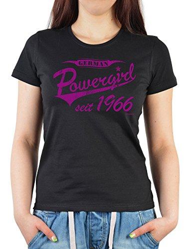 Girlie Shirt ::: German Powergirl seit 1966 ::: witziges Geburtstagshemd Schwarz