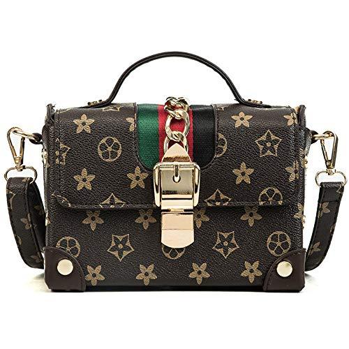 LFGCL Bags womenPrinted kleine viereckige Umhängetasche Messenger Bag, braun