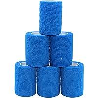 6 Rollen selbsthaftende Bandage Sport Tape selbsthaftende Bandage Haftbandage Knöchel Tape blau Tape Kleber 7,5 cm kohäsive Verbände