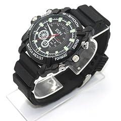 Idea Regalo - FLY-SHOP-16GB HD Impermeabile Spy Watch Orologio Spia Videocamera Nascosta Visione Notturna Cinturino Nero + Quadrante Nero