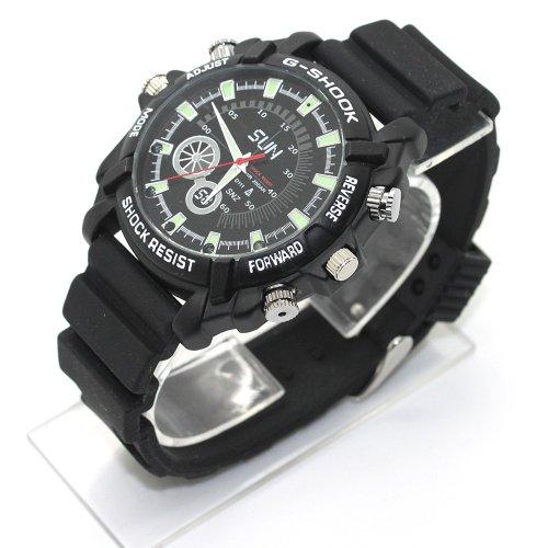 FLY-SHOP-16GB HD Impermeabile Spy Watch Orologio Spia Videocamera Nascosta Visione Notturna Cinturino Nero + Quadrante Nero
