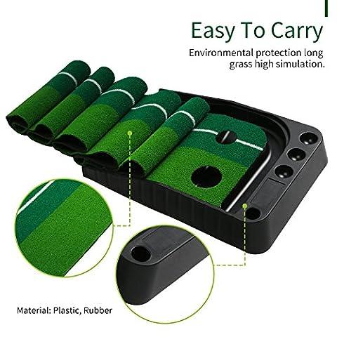 Golf Putting Mat (11,81 Zoll x 118,81 Zoll), WLQP Praktische Indoor Practice Training Aid Mat mit zwei Löcher Ball Return System