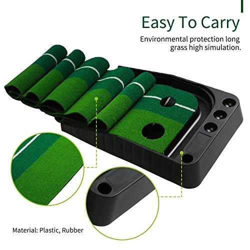 Golf putting Mat (11,81pulgada x 118.81pulgada), wlqp cómodo interior práctica formación ayuda alfombrilla con dos agujeros sistema de retorno de pelota