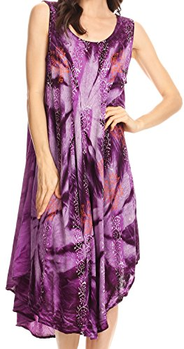 Sakkas Mariana Tie Dye Vine Print Kleid / Cover mit Sequins und Stickerei Lila