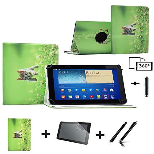 3-in-1-Set Lederhülle für Blaupunkt Endeavour 101G (360 ° drehbar, inkl. Displayschutzfolie und Stylus-Eingabestift) Grün