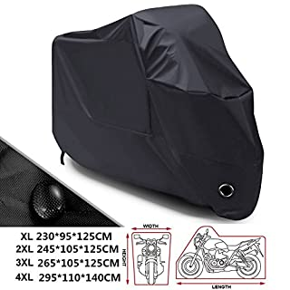 ANFTOP 210D Heavy Duty Black Motorcycle Cover Waterproof Motorbike Dust Rain Cover Indoor Outdoor Protection with Elasticated Hems,Safety Buckle,4CM Big Lock-holes