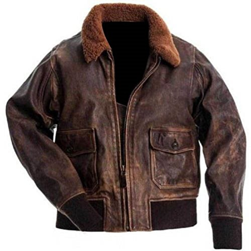 Hollywood Jacket Herren Aviator G-1 Echtes Leder Bomber Jacketâ