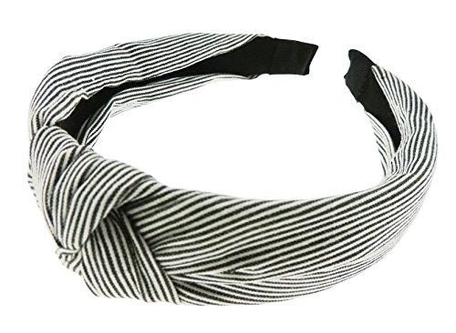 Gorgeous - Diadema de algodón con nudos para mujer, con rayas náuticas