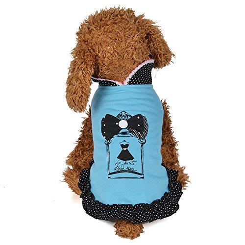 Haustier Kleid,Hund Katze-Haustier-Kleid,Soft Rock Prinzessin Dress Kleidung Puppy Doggy-Kostüm,für Kleine Hunde, Welpen,Schnauzer,Teddy, Pudel,Chihuahua (Blau, ()