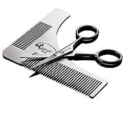 Kaiercat Edelstahl Bartschablonen- und Scheren Set für Bart Trimmen und Bartpflege