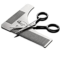 Kaiercat® Stainless Steel Beard Shaping Tool and Scissors Kit for Beard Trimming and Grooming