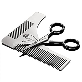 Kaiercat® Stainless Steel Beard Shaping Tool and Scissors Kit for Beard Trimming and Grooming, Gifts for Father's Day… 18