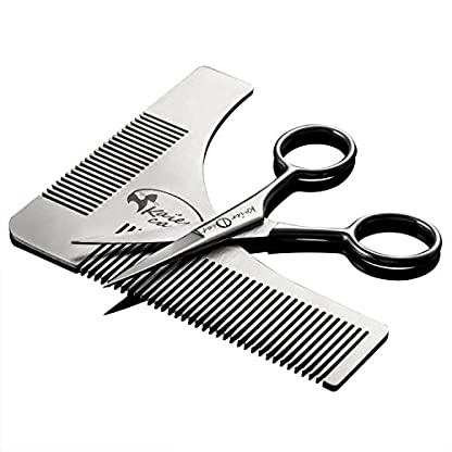 Kaiercat® Stainless Steel Beard Shaping Tool and Scissors Kit for Beard Trimming and Grooming, Gifts for Father's Day… 1