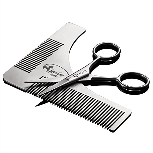 Kaiercat Conjunto de herramienta para dar forma a la barba y tijeras de acero inoxidable para recortar y asear la barba